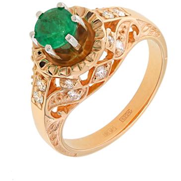 кольцо c изумрудом из красного золота 12436171