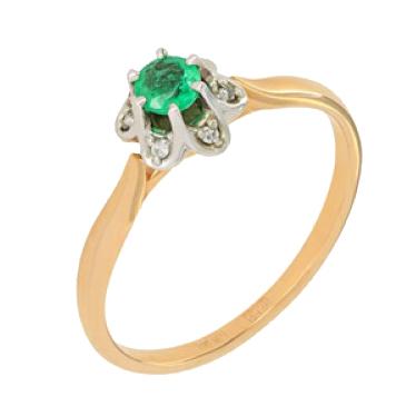кольцо c изумрудом из красного золота 12437842