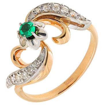кольцо c изумрудом из красного золота 12437554