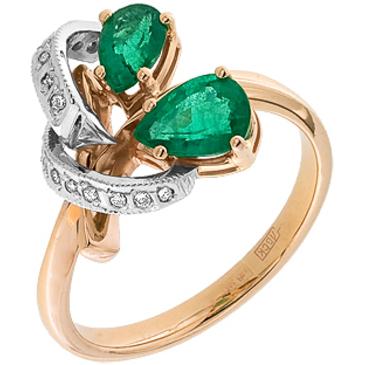 кольцо c изумрудом из красного золота 12432459