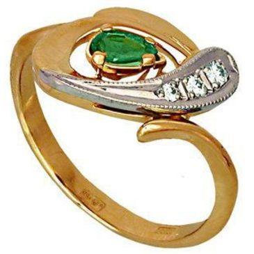 кольцо c изумрудом из красного золота 1243548