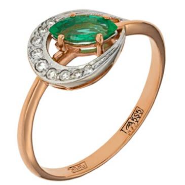 кольцо c изумрудом из красного золота 12434162