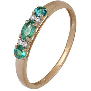 кольцо c изумрудом из красного золота 1910202350