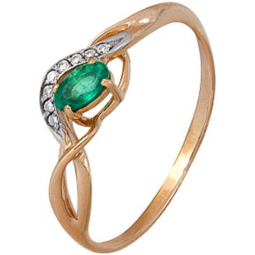 кольцо c изумрудом из красного золота 1910202352