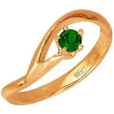 кольцо c изумрудом из красного золота 11401084