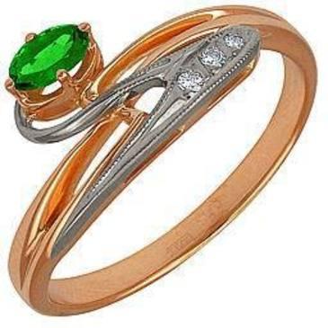 кольцо c изумрудом из красного золота 12431436