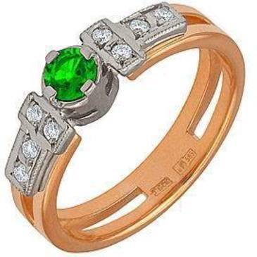 кольцо c изумрудом из красного золота 12431444