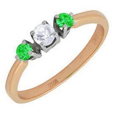 кольцо c изумрудом из красного золота 12431548