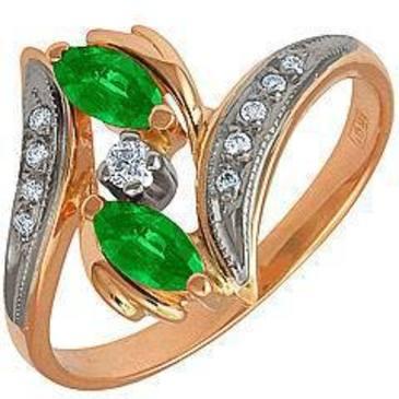 кольцо c изумрудом из красного золота 12431641