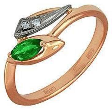 кольцо c изумрудом из красного золота 12431646