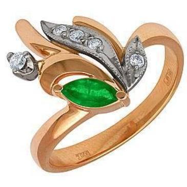 кольцо c изумрудом из красного золота 12431647