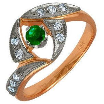 кольцо c изумрудом из красного золота 12431760