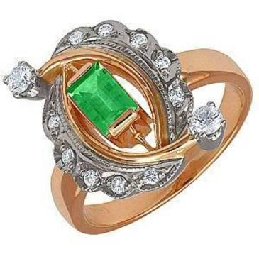 кольцо c изумрудом из красного золота 12431769