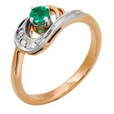 кольцо c изумрудом из красного золота 12432931