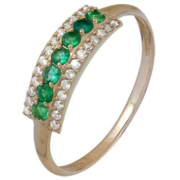 кольцо c изумрудом из красного золота 1910002072