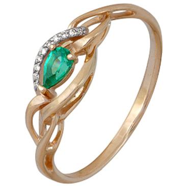 кольцо c изумрудом из красного золота 1910202348