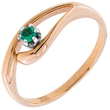 кольцо c изумрудом из красного золота 12402850