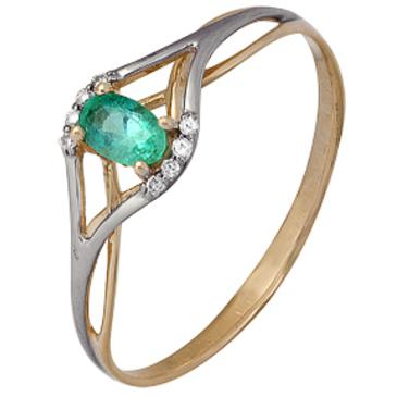 кольцо c изумрудом из красного золота 1910202351