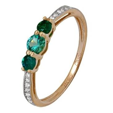 кольцо c изумрудом из красного золота 11434591