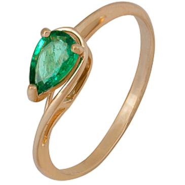 кольцо c изумрудом из красного золота 1010002329