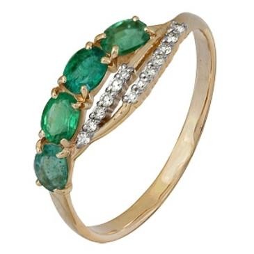 кольцо c изумрудом из красного золота 1910202162