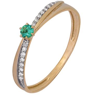 кольцо c изумрудом из красного золота 1910202187