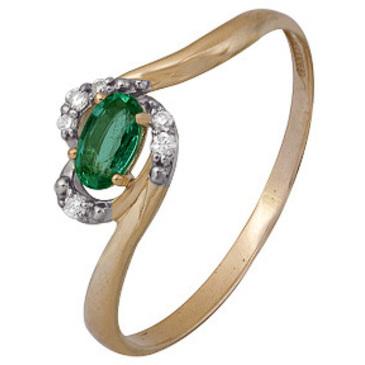 кольцо c изумрудом из красного золота 1910202289