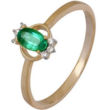 кольцо c изумрудом из красного золота 1910202327