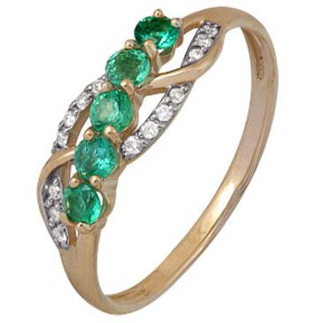 кольцо c изумрудом из красного золота 1910202423