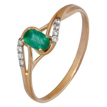 кольцо c изумрудом из красного золота 1910202353