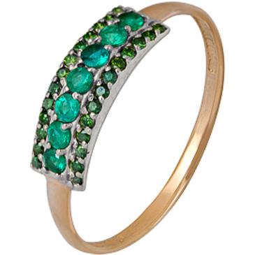 кольцо c изумрудом из красного золота 1910202072-2