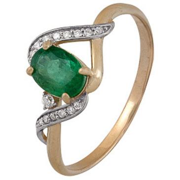 кольцо c изумрудом из красного золота 1910202499