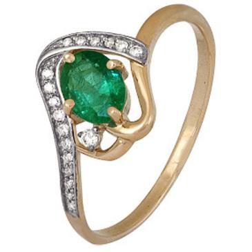 кольцо c изумрудом из красного золота 1910202500