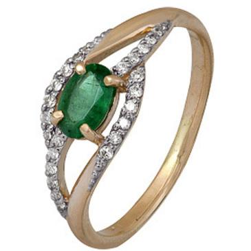 кольцо c изумрудом из красного золота 1910202504