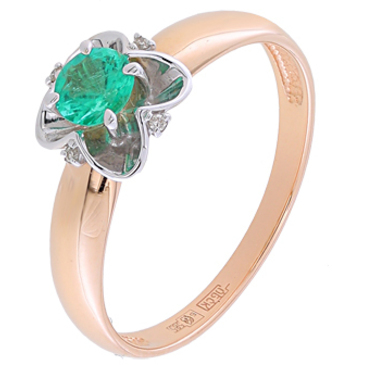 кольцо c изумрудом из красного золота 12434611