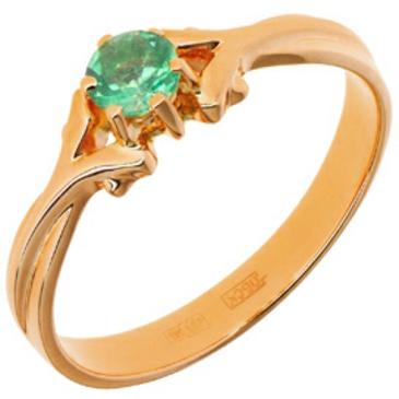 кольцо c изумрудом из красного золота 11408739