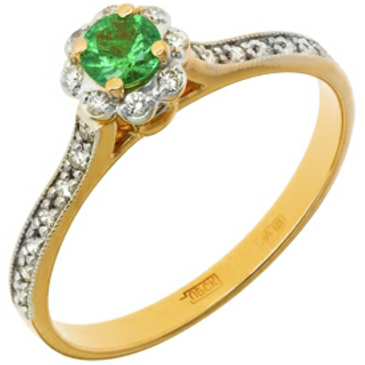 кольцо c изумрудом из красного золота 11438687
