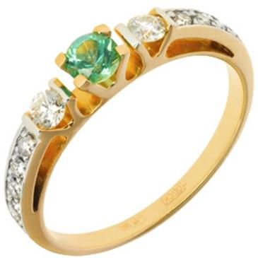 кольцо c изумрудом из красного золота 11438733