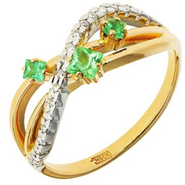 кольцо c изумрудом из красного золота 12438648