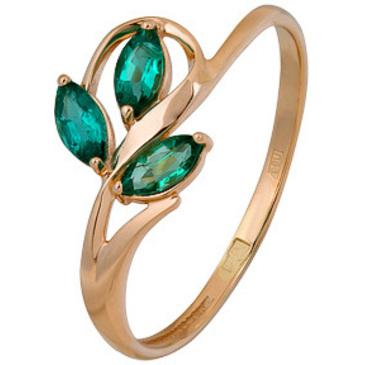 кольцо c изумрудом из красного золота 1010002694