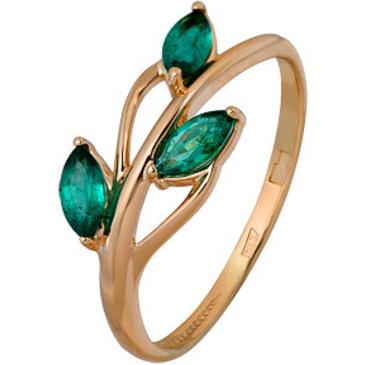 кольцо c изумрудом из красного золота 1010002724