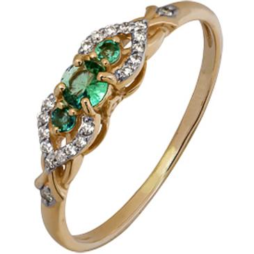 кольцо c изумрудом из красного золота 1910202425