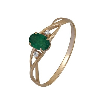 кольцо c изумрудом из красного золота 1910002343
