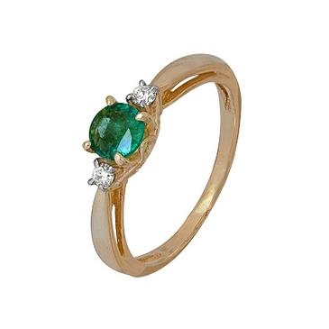 кольцо c изумрудом из красного золота 1910202143