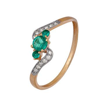 кольцо c изумрудом из красного золота 1910202417