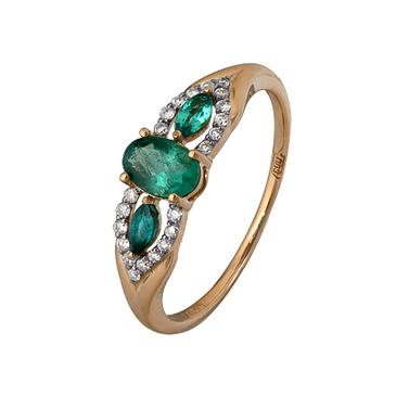 кольцо c изумрудом из красного золота 1910202466