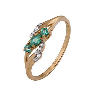 кольцо c изумрудом из красного золота 1910202467
