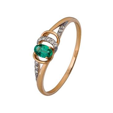 кольцо c изумрудом из красного золота 1910202641