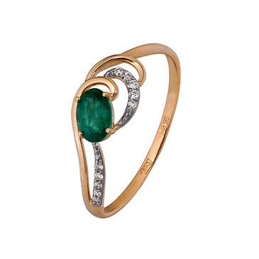 кольцо c изумрудом из красного золота 1910202642
