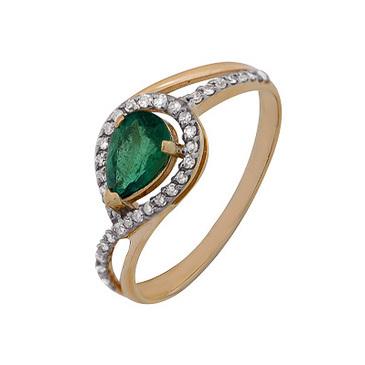 кольцо c изумрудом из красного золота 1910202341